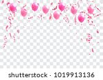 pink balloons  confetti and... | Shutterstock .eps vector #1019913136