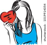 woman with valentine card... | Shutterstock .eps vector #1019914054
