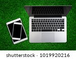 top view of laptop with... | Shutterstock . vector #1019920216