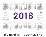 simple pocket calendar 2018... | Shutterstock .eps vector #1019923648