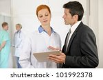 administrator talking with... | Shutterstock . vector #101992378