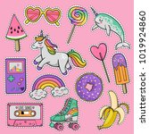 hand drawn fashion patch badges ... | Shutterstock .eps vector #1019924860