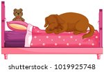 dog slepping on pink bed ...   Shutterstock .eps vector #1019925748