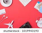 computer keyboard  passport ... | Shutterstock . vector #1019943193