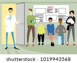 people are waiting for a doctor   Shutterstock .eps vector #1019943568