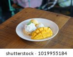 sweet thai sticky rice with...   Shutterstock . vector #1019955184