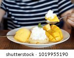 sweet thai sticky rice with...   Shutterstock . vector #1019955190