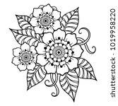 mehndi flower pattern for henna ... | Shutterstock .eps vector #1019958220