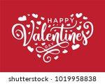 hand lettering happy valentines ... | Shutterstock .eps vector #1019958838
