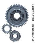 a set of three old steel gears...   Shutterstock . vector #1019963854