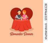 romantic dinner illustration | Shutterstock .eps vector #1019966128