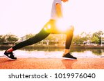healthy woman doing exercises... | Shutterstock . vector #1019976040