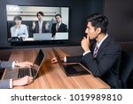 videoconferencing in meeting... | Shutterstock . vector #1019989810