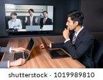 videoconferencing in meeting... | Shutterstock . vector #1019989810