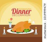 dinner table decoration... | Shutterstock .eps vector #1019999479