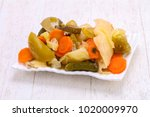 pickled vegetables mix in the... | Shutterstock . vector #1020009970