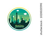 city of jakarta label badge... | Shutterstock .eps vector #1020020590