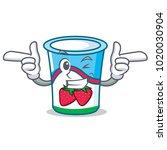 wink yogurt character cartoon... | Shutterstock .eps vector #1020030904