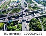 aerial view massive highway... | Shutterstock . vector #1020034276