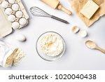 baking ingredients for pastry... | Shutterstock . vector #1020040438