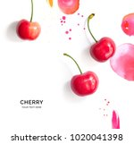 creative layout made of cherry... | Shutterstock . vector #1020041398