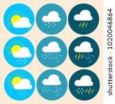 vector set of weather icons.... | Shutterstock .eps vector #1020046864