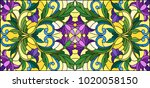 illustration in stained glass... | Shutterstock .eps vector #1020058150