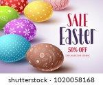 easter sale vector banner...   Shutterstock .eps vector #1020058168
