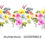 seamless floral border for your ... | Shutterstock . vector #1020058813