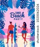 summer vector poster. people on ... | Shutterstock .eps vector #1020062026