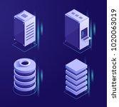 set of server rack and database ... | Shutterstock .eps vector #1020063019