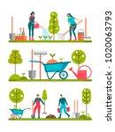 people doing garden activities. ...   Shutterstock .eps vector #1020063793