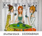 girls having coffee  colorful... | Shutterstock . vector #1020068464
