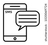 mobile sms color line icon  sms ... | Shutterstock .eps vector #1020069724