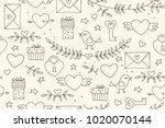 seamless doodles valentine's... | Shutterstock .eps vector #1020070144