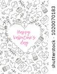 seamless doodles valentine's... | Shutterstock .eps vector #1020070183