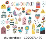 set of cute scandinavian style... | Shutterstock .eps vector #1020071470
