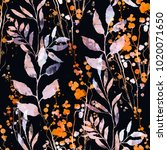 imprints flowers and leaves mix ... | Shutterstock . vector #1020071650