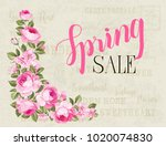 the spring sale card. spring... | Shutterstock .eps vector #1020074830