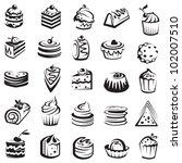 set of cakes | Shutterstock .eps vector #102007510