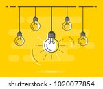 set of hanging light bulbs with ...   Shutterstock .eps vector #1020077854