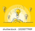 set of light bulbs rocket... | Shutterstock .eps vector #1020077989