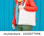fashion hipster woman holding...   Shutterstock . vector #1020077998