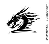 sign of a black dragon on a... | Shutterstock .eps vector #1020079594