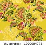 paisley watercolor ethnic... | Shutterstock . vector #1020084778