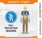 safety at the construction site ... | Shutterstock .eps vector #1020087844