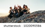 diverse group of friends... | Shutterstock . vector #1020090586
