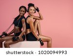 fitness women sitting and... | Shutterstock . vector #1020094993