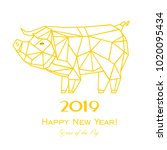 2019 happy new year greeting... | Shutterstock . vector #1020095434