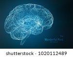 vector blue illustration of 3d... | Shutterstock .eps vector #1020112489